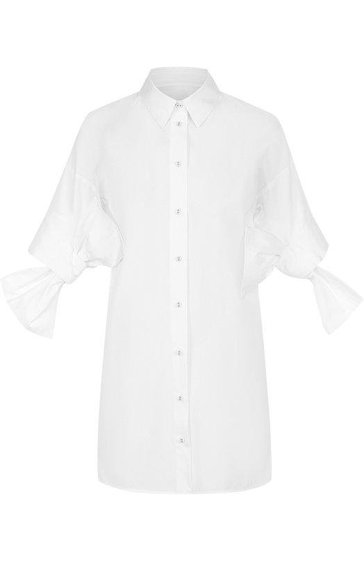 Купить Удлиненная блуза с бантами на рукавах Victoria, Victoria Beckham, SHVV 049B PAW17 C0TT0N SHIRTING, Турция, Белый, Хлопок: 100%;