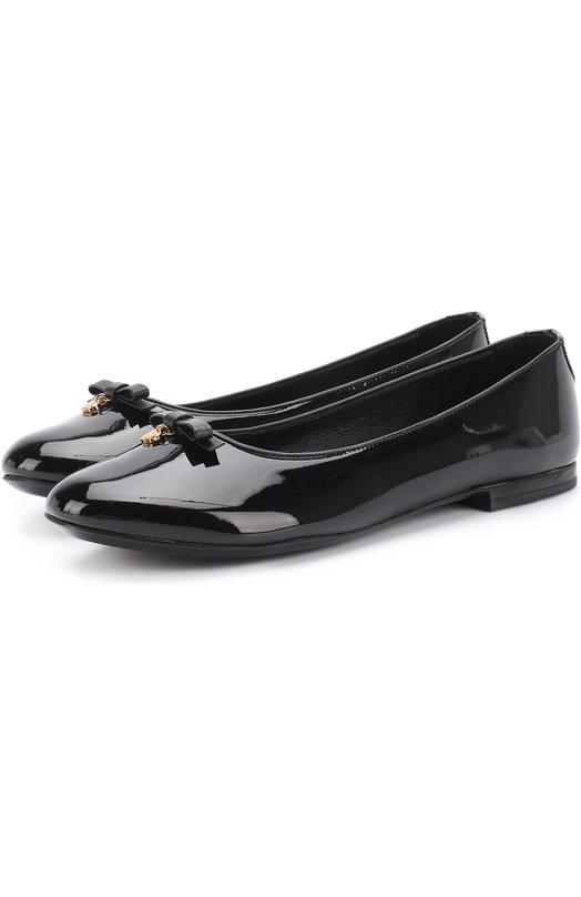 Купить Лаковые балетки с бантом Dolce & Gabbana, 0132/D10341/A1328/37-39, Италия, Черный, Кожа натуральная: 100%; Стелька-кожа: 100%; Подошва-резина: 100%;