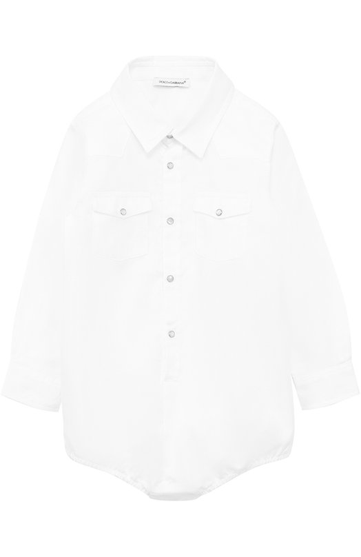 Хлопковое боди с накладными карманами Dolce & Gabbana 0131/L11041/FU50W