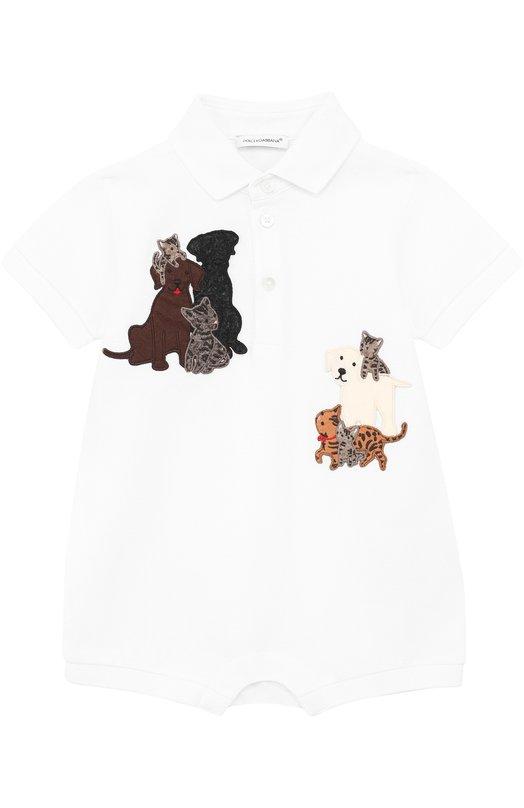 Купить Хлопковый песочник с аппликациями Dolce & Gabbana, 0131/L1J0J4/G7IIM, Италия, Белый, Хлопок: 100%;