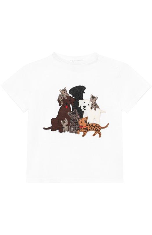 Купить Хлопковая футболка с аппликациями Dolce & Gabbana, 0131/L1JT4E/G7IHC, Италия, Белый, Хлопок: 100%;