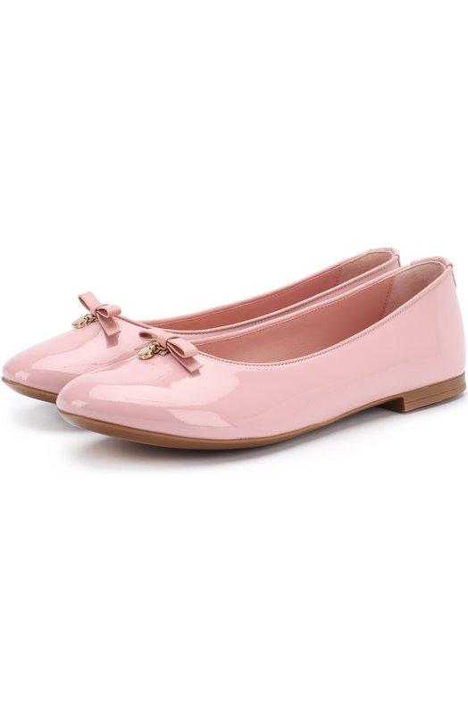 Лаковые балетки с бантом Dolce & Gabbana 0132/D10341/A1328/37-39