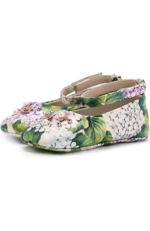 Текстильные пинетки с цветочным принтом и аппликацией Dolce & Gabbana 0132/DK0065/AM003