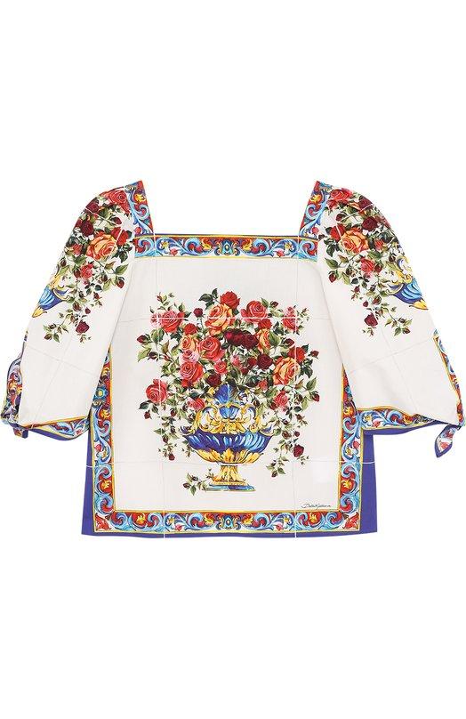 Хлопковая блуза с принтом и рукавами ассиметричного кроя Dolce & Gabbana 0131/L53S09/HP5DD/2-6