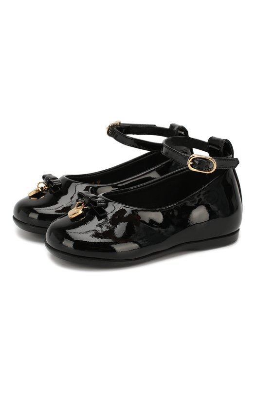 Лаковые туфли с бантом и ремешком на щиколотке Dolce & Gabbana 0132/D20030/A1328/19-28