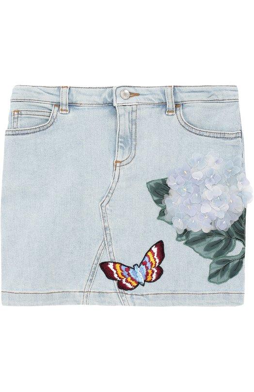 Мини-юбка из денима с цветочной аппликацией и вышивкой Dolce & Gabbana 0131/L51I77/LD615/2-6