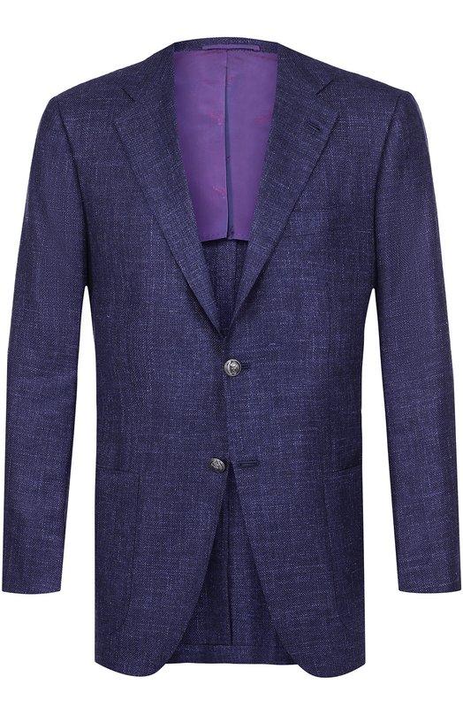 Купить Однобортный пиджак из смеси кашемира и льна с шелком Kiton, UG81/6N34, Италия, Темно-синий, Кашемир: 46%; Лен: 28%; Шелк: 26%; Подкладка-купра: 100%;