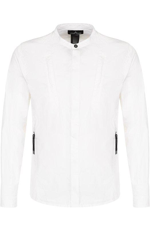 Хлопковая рубашка с воротником-стойкой Stone Island 661910106