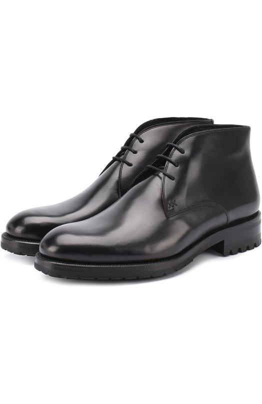 Кожаные ботинки на шнуровке с круглым мысом Brioni QQBT/06760