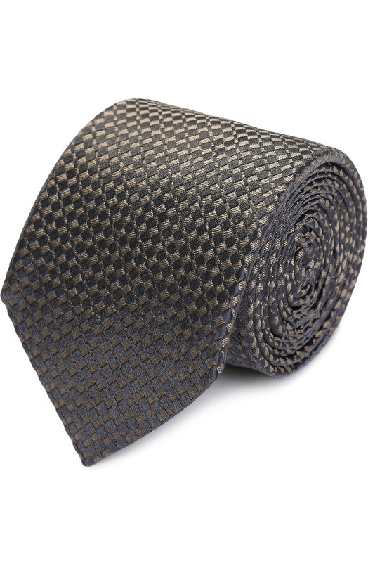 Купить Шелковый галстук с узором Armani Collezioni, 350027/7A332, Италия, Светло-коричневый, Шелк: 100%;