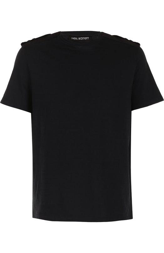 Купить Хлопковая футболка свободного кроя с погонами Neil Barrett Португалия 5176032 PBJT275C/F503C