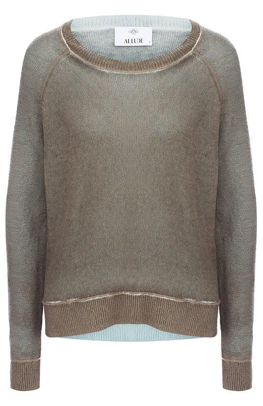 Купить Кашемировый пуловер свободного кроя с круглым вырезом Allude, 56/4100, Китай, Серый, Кашемир: 100%;