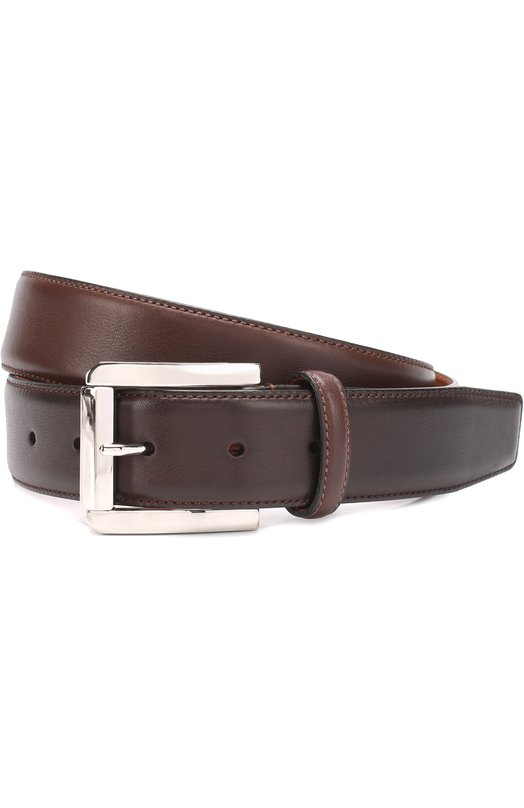 Купить Кожаный ремень с металлической пряжкой Santoni, CM35V0003B35EGTU, Италия, Темно-коричневый, Кожа натуральная: 100%; Пряжка-мет.сплав: 100%;