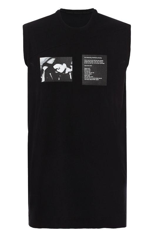 Купить Удлиненная хлопковая майка с принтом Julius, 577CPM16, Япония, Черный, Хлопок: 100%;