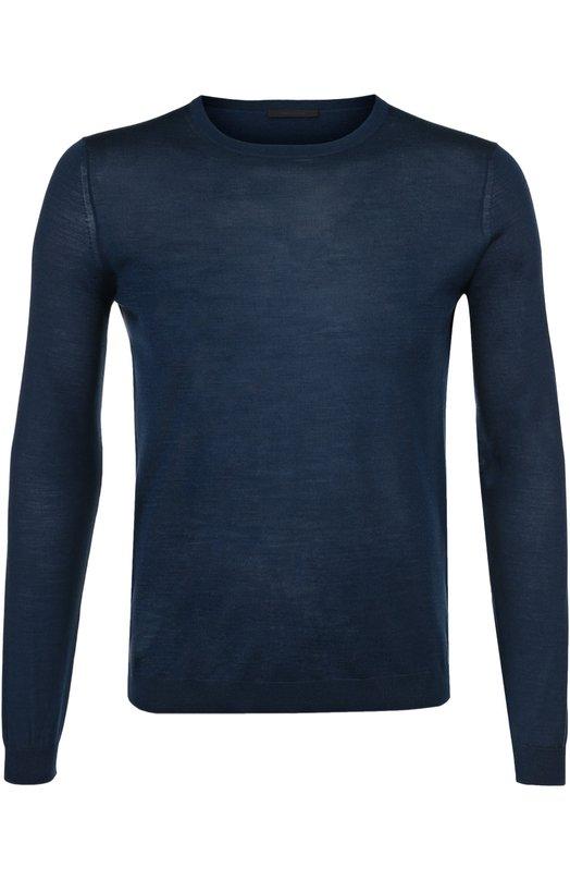 Купить Джемпер тонкой вязки из смеси шерсти и шелка Pal Zileri, 94750/3M0/H300, Румыния, Синий, Шерсть: 70%; Шелк: 30%;