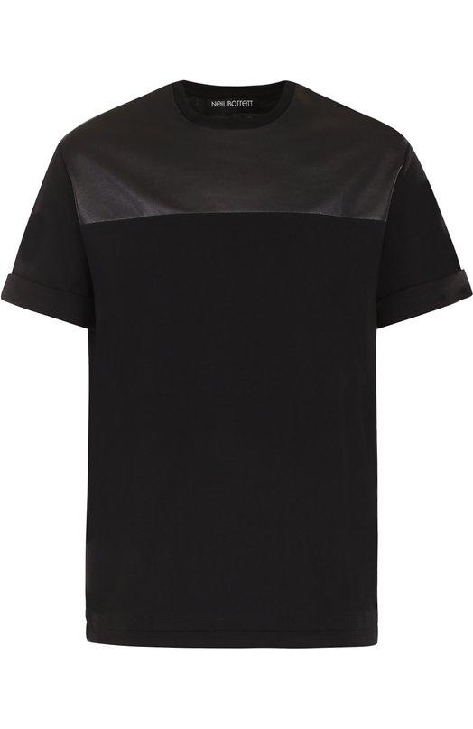 Хлопковая футболка с круглым вырезом Neil Barrett Португалия 5176029 PBJT260C/F515S  - купить со скидкой