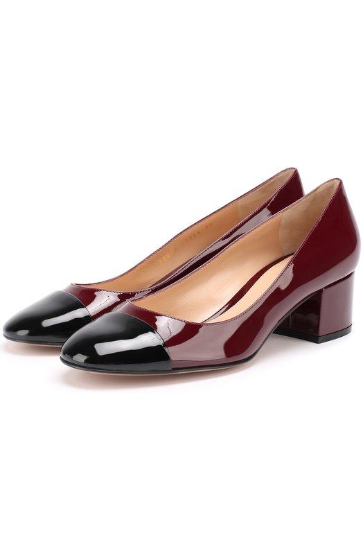 Купить Лаковые туфли на устойчивом каблуке Gianvito Rossi, G20817.45RIC.VER, Италия, Бордовый, Кожа натуральная: 100%; Стелька-кожа: 100%; Подошва-кожа: 100%;