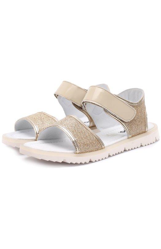Текстильные сандалии с металлизированной отделкой и кожаными застежками велькро Jog Dog LISB0NA01R/GLITTER PATENT/36-40