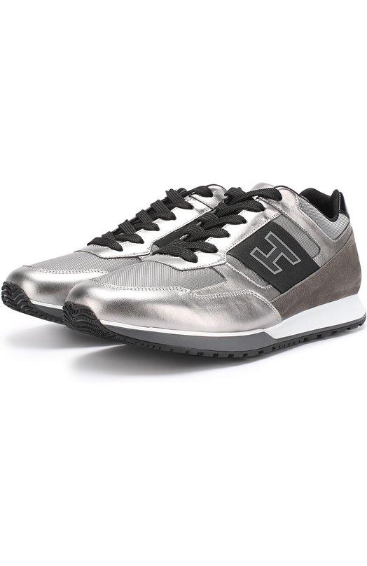 Комбинированные кроссовки на шнуровке с металлизированной отделкой Hogan HXM3210Y130GCG