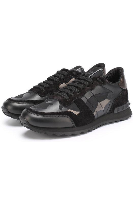 Комбинированные кроссовки Rockstud с камуфляжным принтом Valentino NY2S0723/NTA