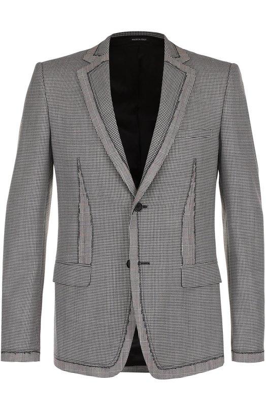Однобортный пиджак из смеси шерсти и шелка Alexander McQueen 464206/QJU13