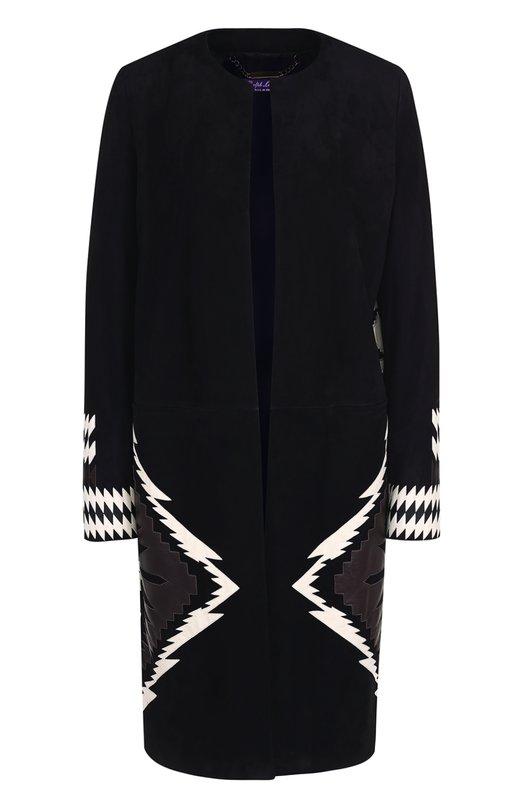 Купить Замшевое пальто прямого кроя с контрастной отделкой Ralph Lauren, 940/IHG01/FHG01, Италия, Черный, Отделка-полиэстер: 79%; Отделка-полиуретан: 21%; Подкладка-шелк: 100%; Замша натуральная: 100%;