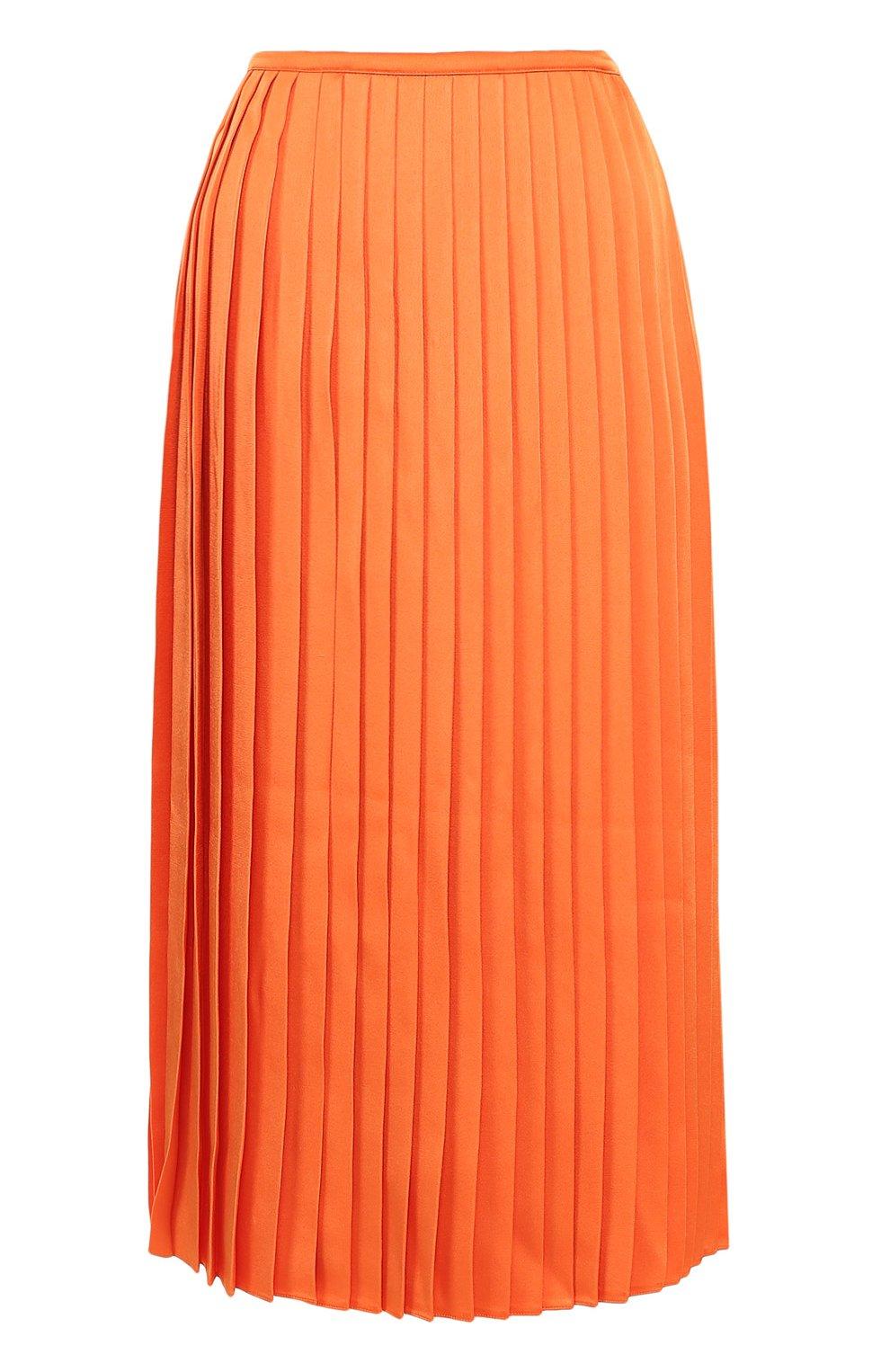 Плиссированная оранжевая юбка