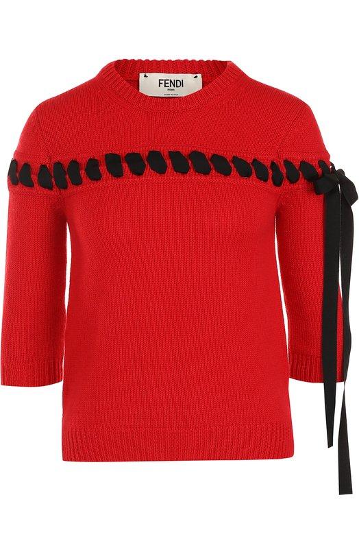 Купить Пуловер с укороченным рукавом и контрастной лентой Fendi, FZZ965/4L5, Италия, Красный, Отделка-вискоза: 60%; Отделка-хлопок: 40%; Кашемир: 100%;