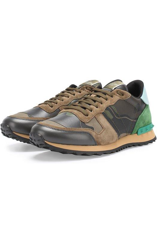 Комбинированные кроссовки Rockrunner с камуфляжным принтом Valentino NY2S0723/TCC