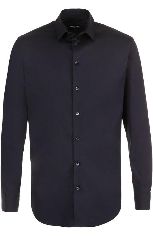 Купить Хлопковая сорочка с воротником кент Giorgio Armani, ZSC97T/ZS36C, Италия, Темно-синий, Хлопок: 78%; Эластан: 4%; Полиамид: 18%;