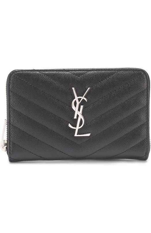Кожаное портмоне на молнии с логотипом бренда Saint Laurent 481407/B0W02
