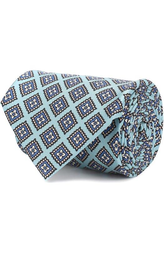 Купить Шелковый галстук с узором Brioni, 062I/0641G, Италия, Голубой, Шелк: 100%;