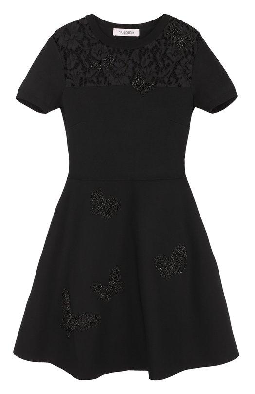 Купить Платье с кружевной вставкой и вышивкой в виде бабочек Valentino, NB2KD19Q/3CV, Италия, Черный, Вискоза: 83%; Хлопок: 41%; Полиамид: 20%; Полиэстер: 17%; Отделка-полиэстер: 100%;