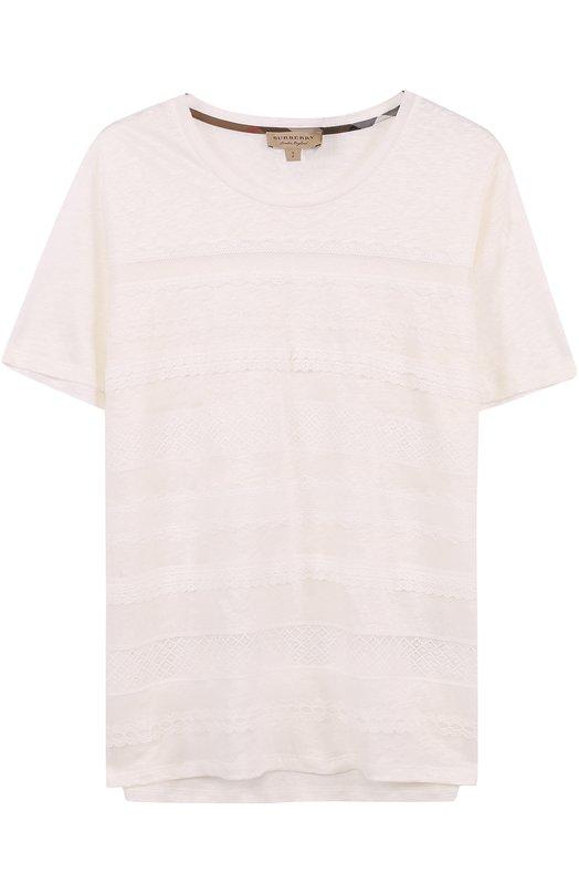 Льняная футболка с кружевной отделкой Burberry 4052661