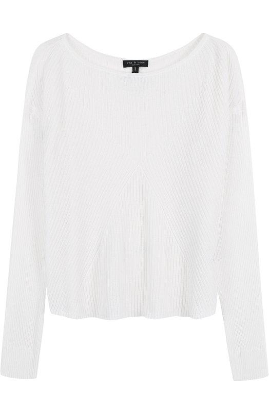 Купить Пуловер фактурной вязки с вырезом-лодочка Rag&Bone, W274650KV, Китай, Белый, Хлопок: 68%; Полиамид: 32%;
