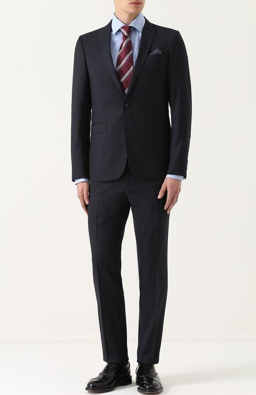 Купить Шерстяной костюм с пиджаком на двух пуговицах Sand, 1540/STAR-CRAIG, Португалия, Темно-синий, Шерсть: 99%; Подкладка-вискоза: 50%; Подкладка-ацетат: 50%; Эластан: 1%;