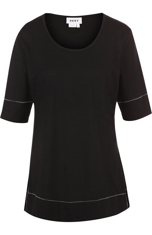 Топ прямого кроя с круглым вырезом DKNY, N2662CN, Китай, Черный, Хлопок: 100%;  - купить