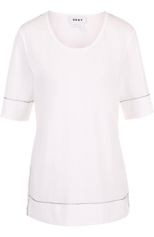 Топ прямого кроя с круглым вырезом DKNY, N2662CN, Китай, Белый, Хлопок: 100%;  - купить