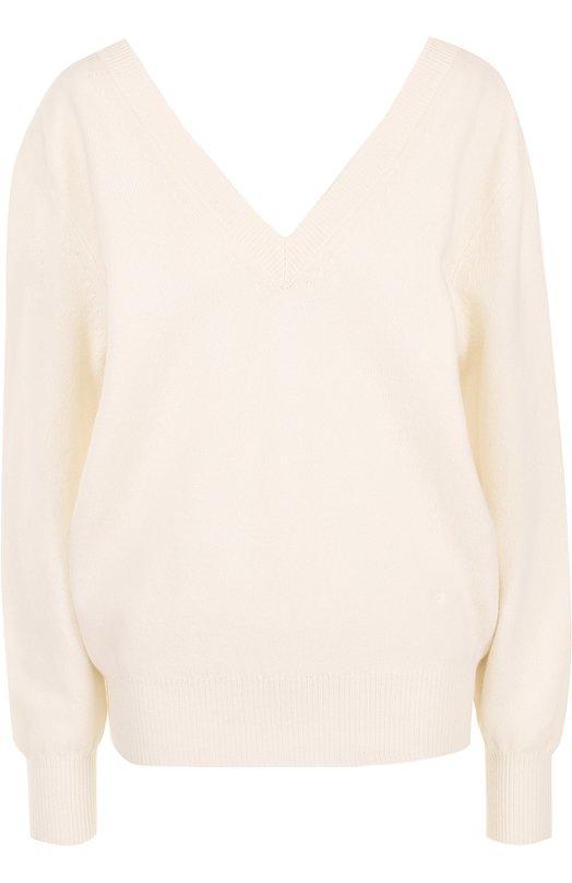 Пуловер свободного кроя с V-образным вырезом Victoria Beckham JU KNT 7153 PAW17 LAMBSW00L VK1032