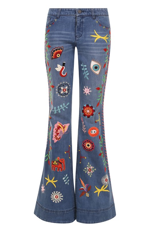 Расклешенные джинсы с потертостями и вышивкой Alice + Olivia CC704D53105