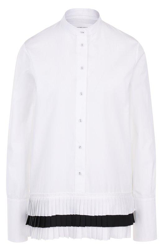 Купить Блуза с воротником-стойкой и плиссированной отделкой Victoria, Victoria Beckham, SHVV 056 PAW17 C0TT0N/HAB0TAI, Турция, Черно-белый, Хлопок: 100%; Отделка-полиэстер: 100%;