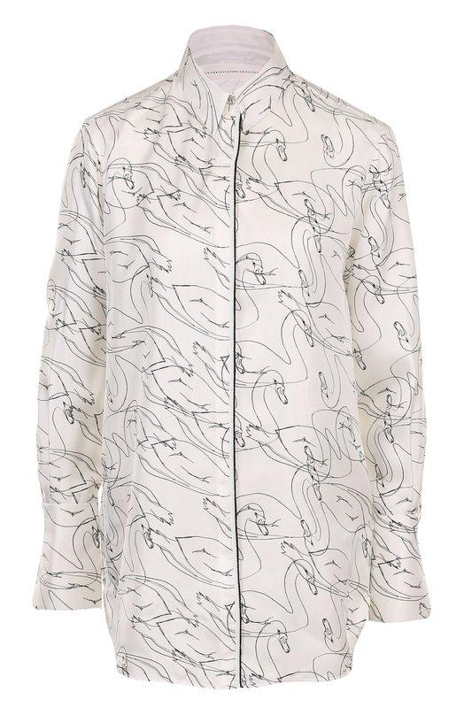 Шелковая блуза свободного кроя с принтом Victoria by Victoria Beckham SHVV 048 PAW17 PRINTED SILK TWILL