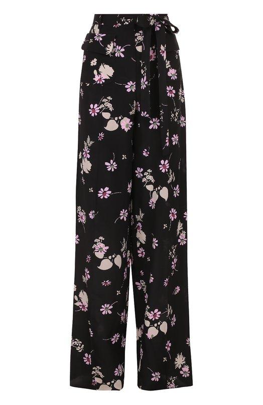 Шелковые широкие брюки с принтом Valentino
