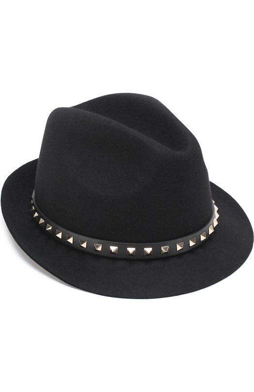 Шляпа из ангоры Valentino Garavani с кожаным ремешком и заклепками Valentino Valentino