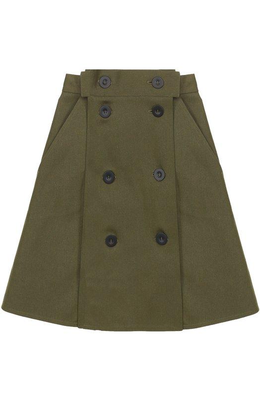 Купить Мини-юбка А-силуэта с широким поясом Walk of Shame, SK004-PF17, Россия, Зеленый, Хлопок: 100%;