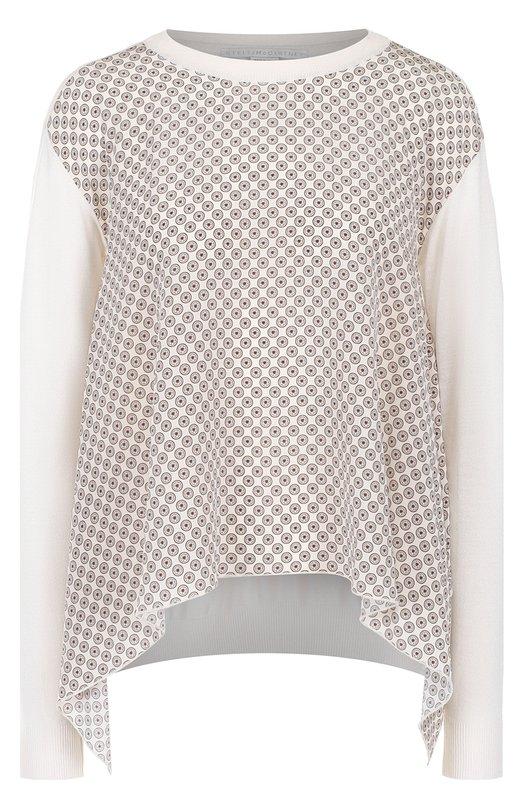 Купить Пуловер свободного кроя с шелковой вставкой Stella McCartney, 412463/S1792, Италия, Белый, Шерсть: 70%; Шелк: 30%;