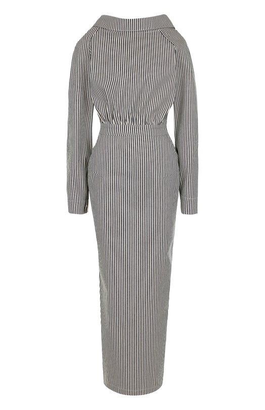Купить Платье-макси в полоску с поясом Walk of Shame, D004/1-PF17, Россия, Черно-белый, Хлопок: 100%;