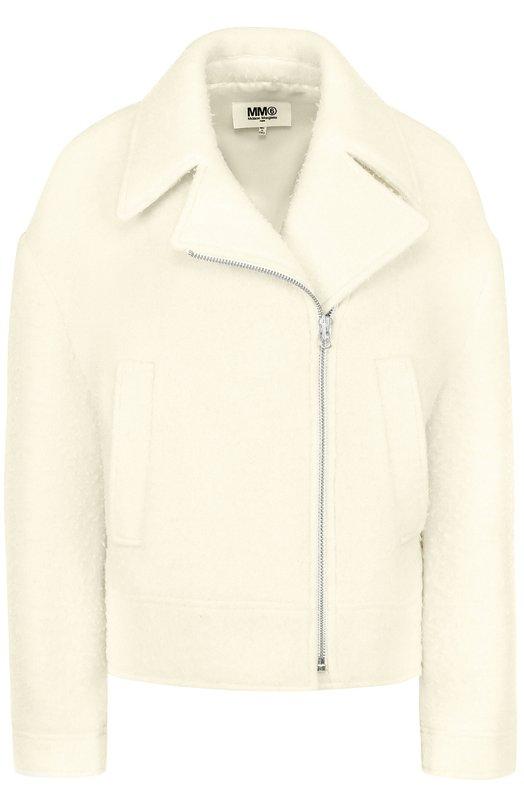 Шерстяная куртка свободного кроя с косой молнией Mm6, S32AM0267/S23067, Италия, Белый, Шерсть: 68%; Полиэстер: 32%; Подкладка-вискоза: 100%;  - купить