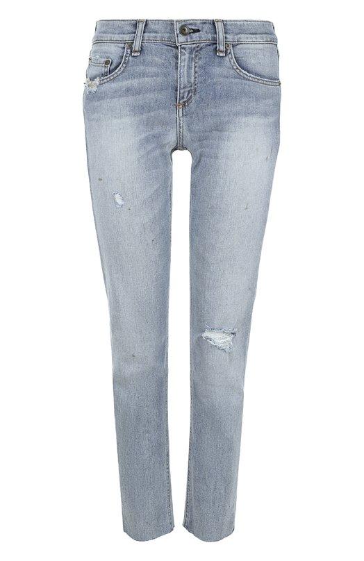 Укороченные джинсы-скинни с потертостями Rag&Bone, W2592K510T0R, США, Голубой, Хлопок: 98%; Полиуретан: 2%;  - купить