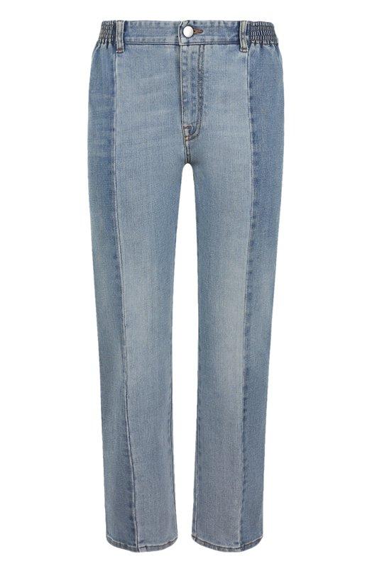 Купить Укороченные джинсы прямого кроя с потертостями Stella McCartney, 477978/SLH05, Италия, Голубой, Хлопок: 86%; Полиэстер: 13%; Эластан: 1%;